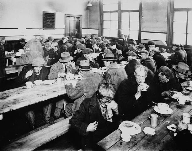 Great Depression soup kitchen economic collapse.