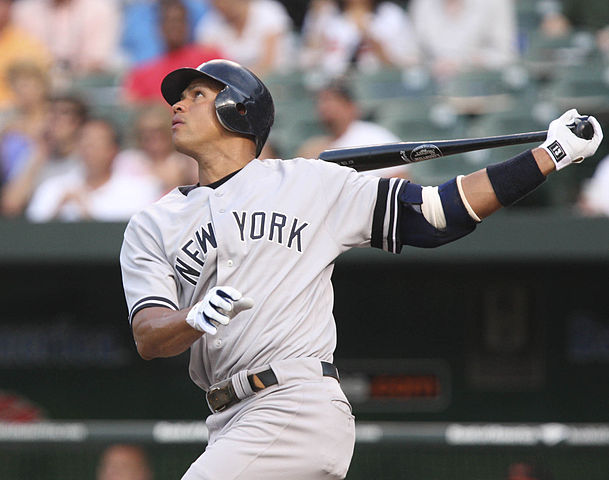 Alex Rodriguez batting for the New York Yankees
