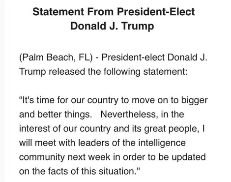 Trump Statement On Russian Hacking