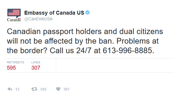 Canadian Dual Citizens Not Affected By Trump Executive Order