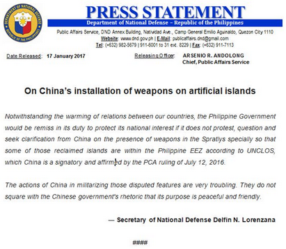 Philippines Statement on China's Islands