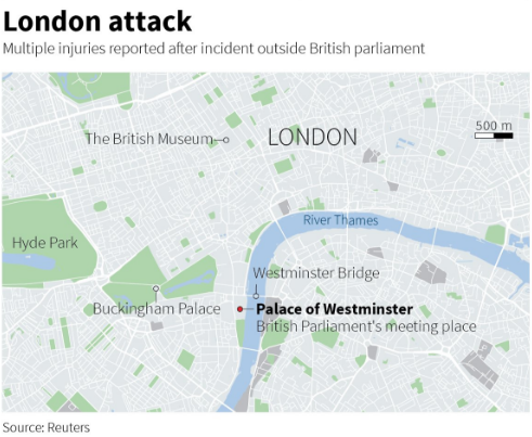 UK Parliament Attack Map