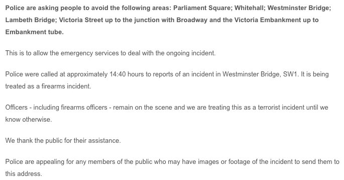 UK Police Statement - Parliament Attack