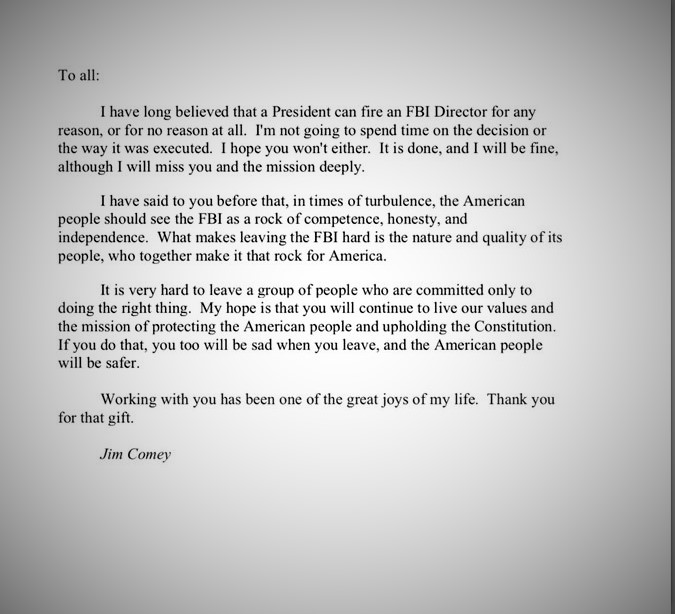 Comey Farewell Letter