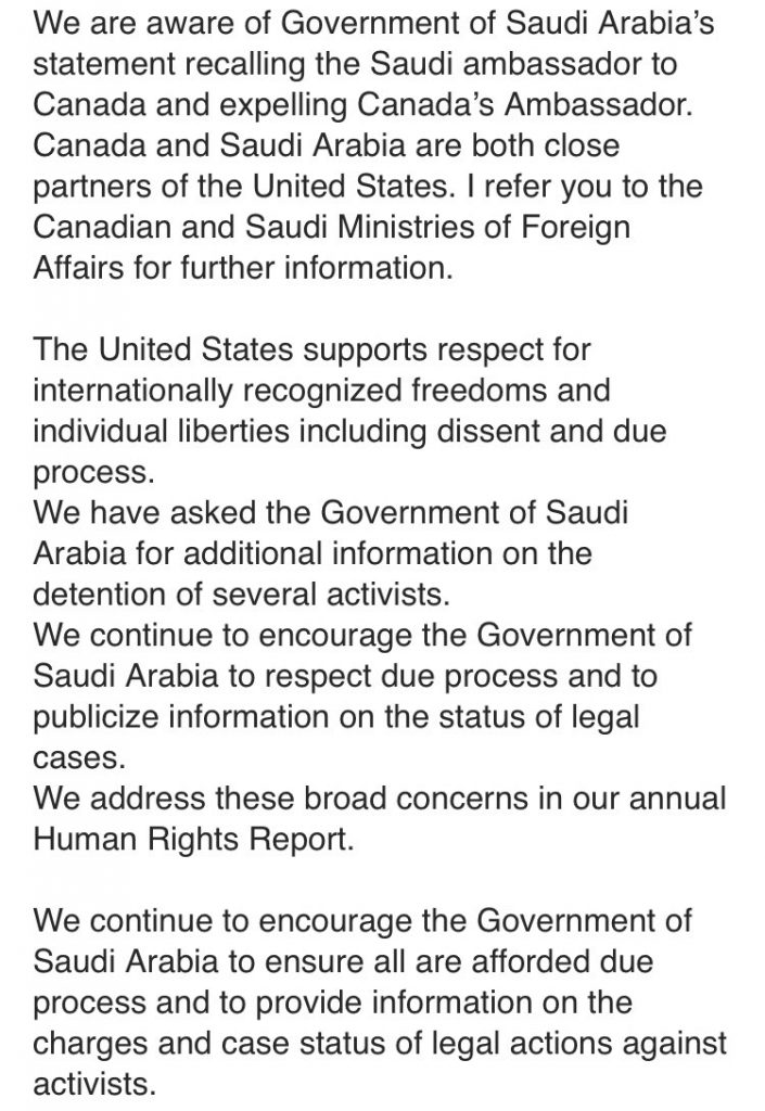 US Statement Canada Saudi