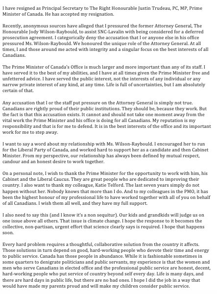 Gerald Butts Statement