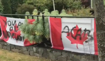 Canadian Flag Defaced
